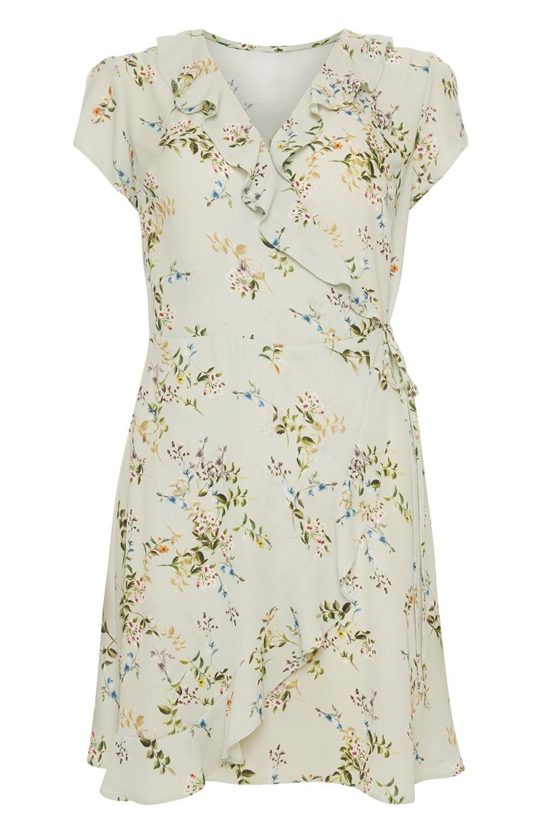 1f42b614a5282 Primark - Cream Floral Print Wrap Dress | Primark in 2019 | Dresses ...