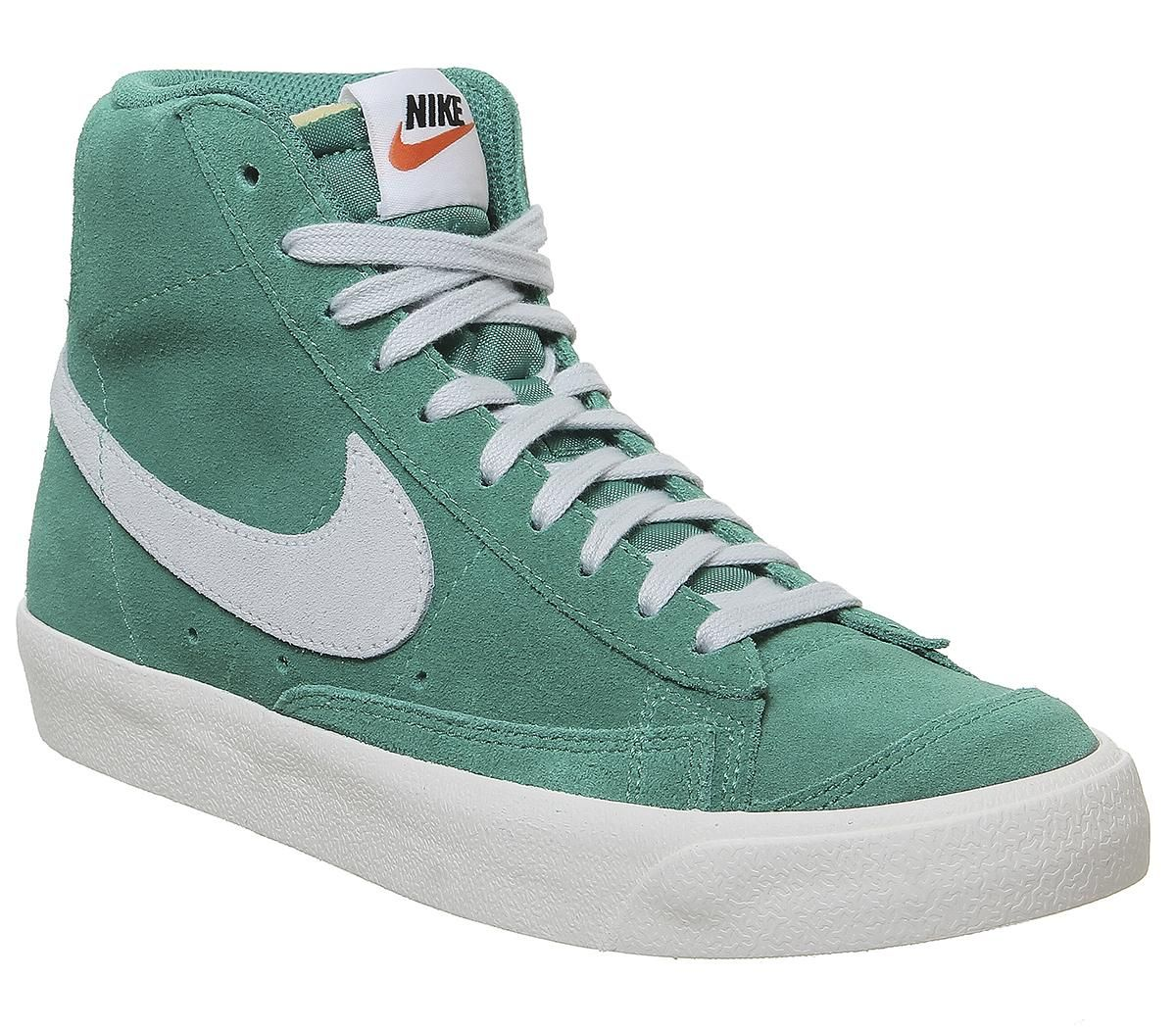 Nike Blazer Mid 77 Trainers Neptune Green Pure Platinum Sail Unisex Sports Green Nike Shoes Nike Volleyball Shoes Sneakers Fashion