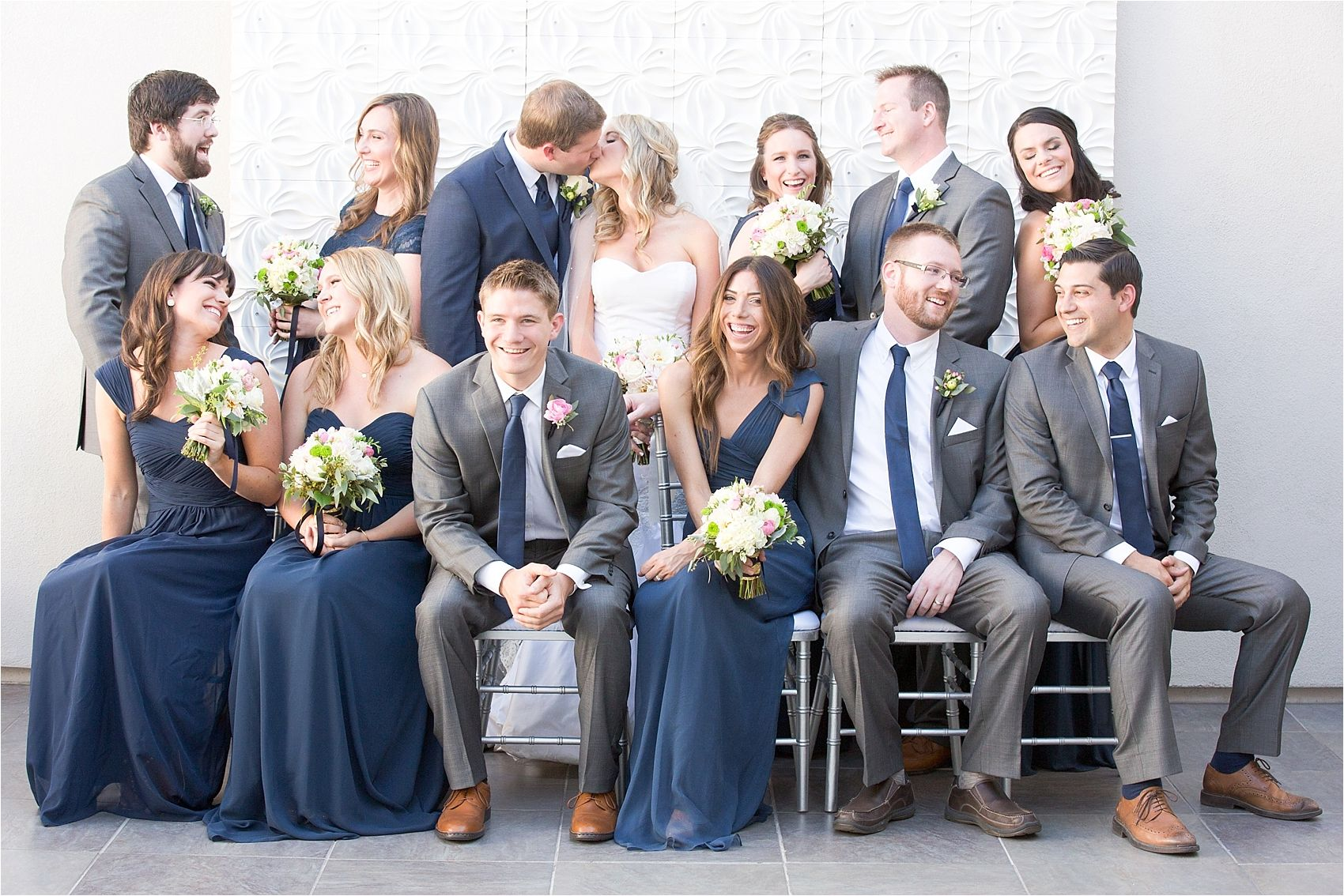 how to photograph a big bridal party navy wedding and gold