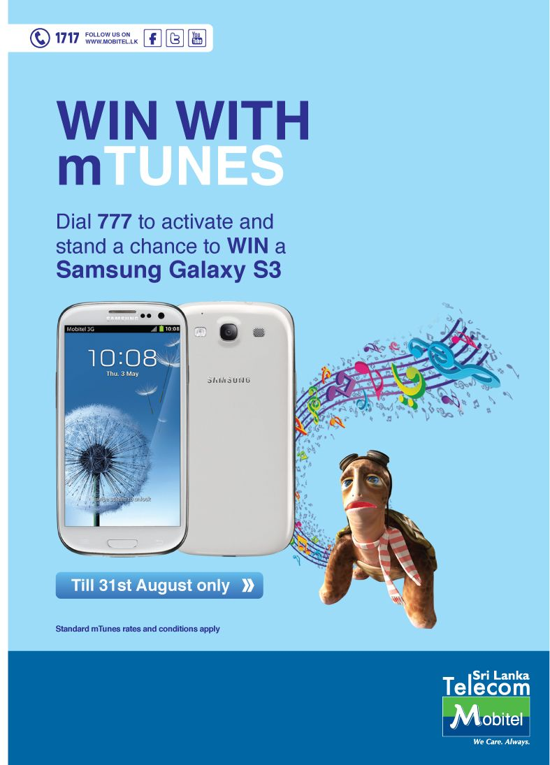 Win A SAMSUNG GALAXY S3 Android Smartphone From Mobitel Dial 777 And Activate Your Favorite MTune Song Stand Chance To Be The Winner For Month