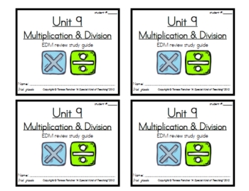 3rd Grade Everyday Math Unit 9 Review Study Guide Everyday Math Study Guide Study Skills