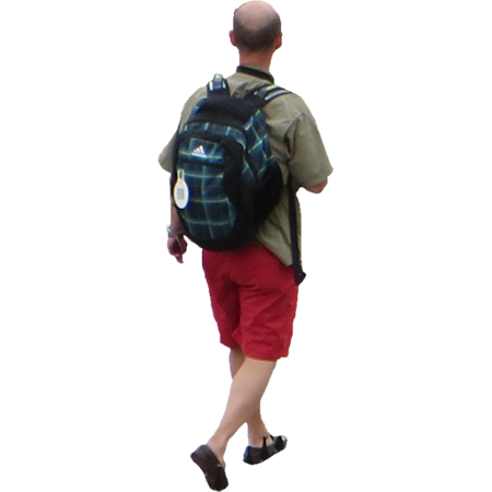 A Cutout Photo Of A Bald Man With A Green Backpack Walking Away In Sandals Bald Man Red Shorts Man