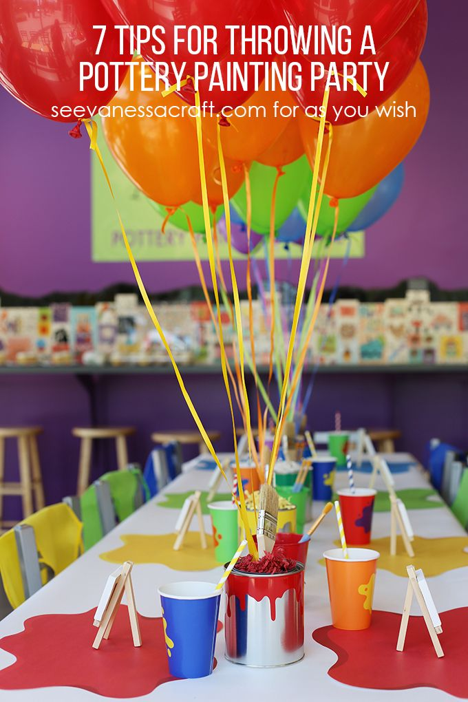 7 tips for throwing a pottery painting party kid party for Kids paint party