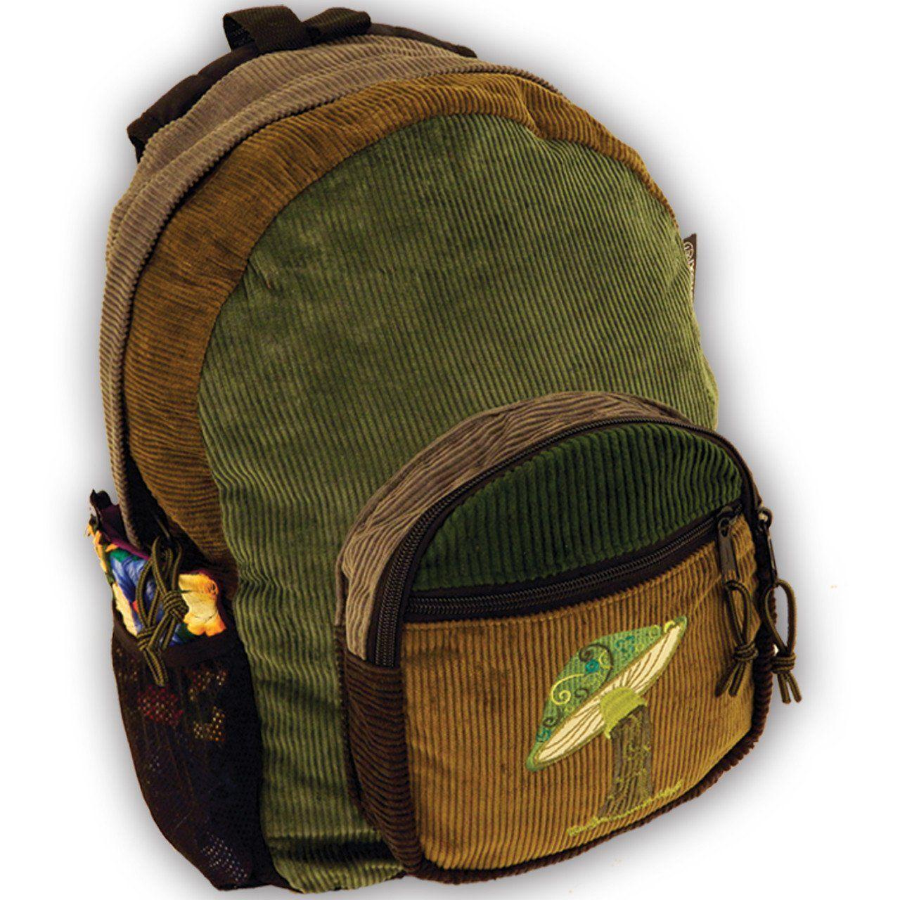Corduroy Backpack With Mushroom Embroidery Medium In