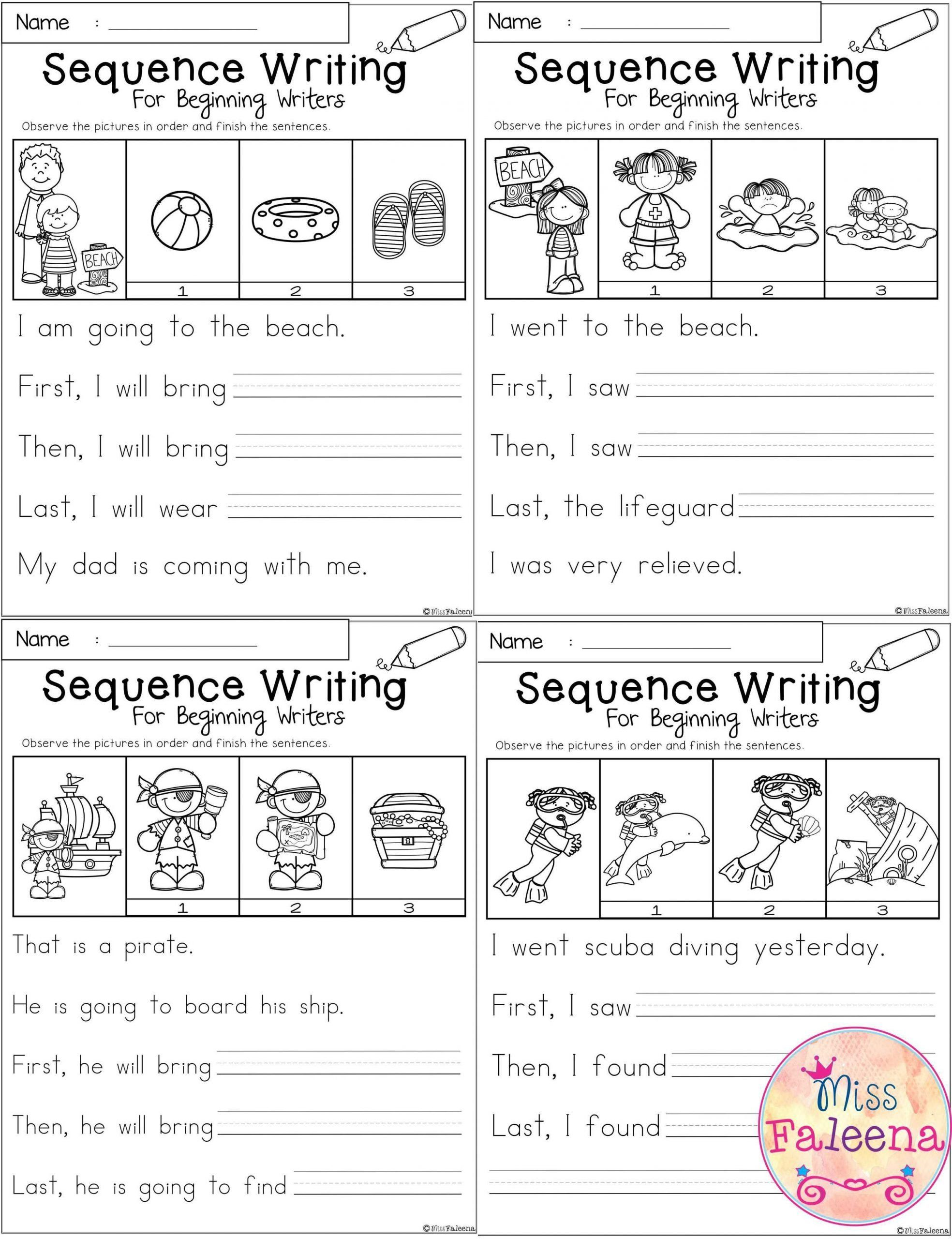 Sequencing Worksheet First Grade August Sequence Writing For Beginning Writers In 2020 Sequencing Worksheets Sequence Writing Story Sequencing Worksheets