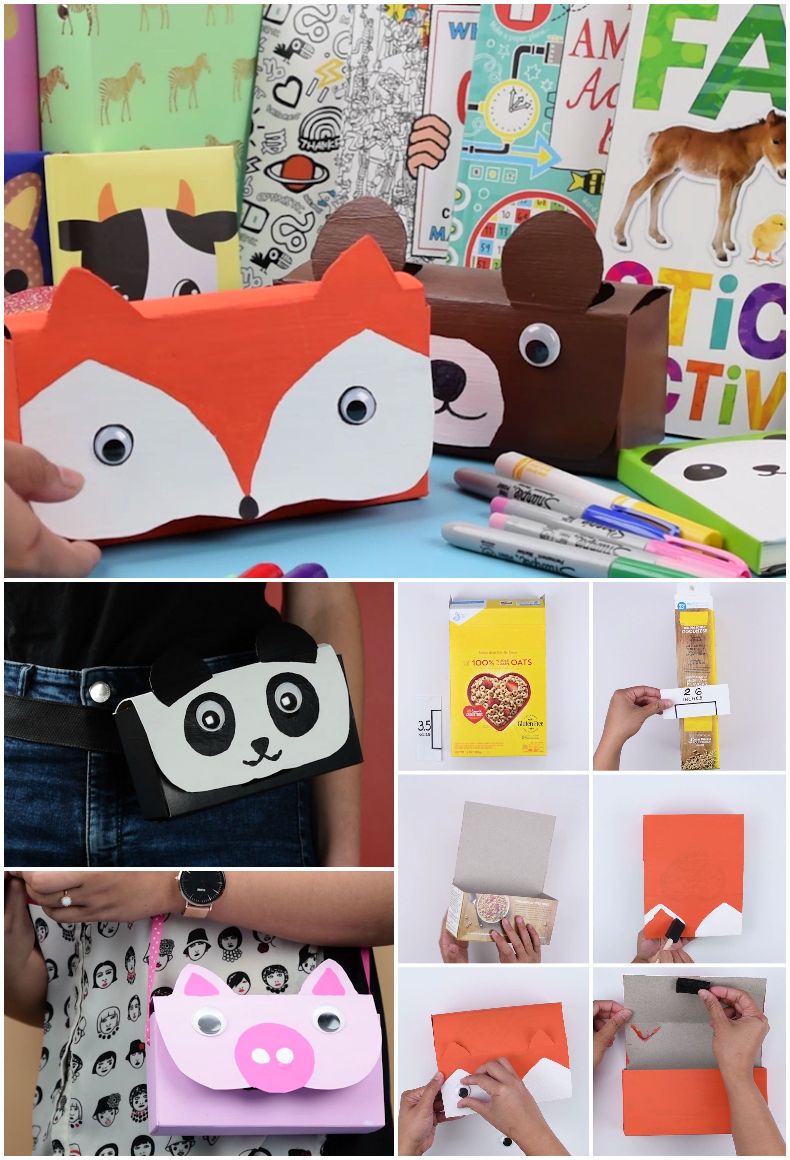 How to make animal pencil cases out of an empty cereal box ...
