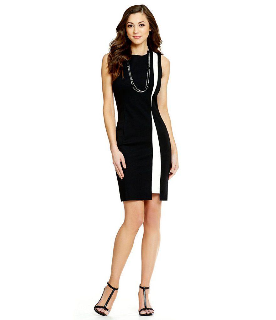 527badaee8d Black Ivory Antonio Melani Missy Ponte and Leather Dress