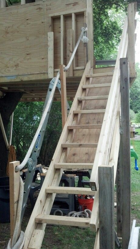 Treehouse Stairs Backyard Treehouse House Ladder Diy Stairs
