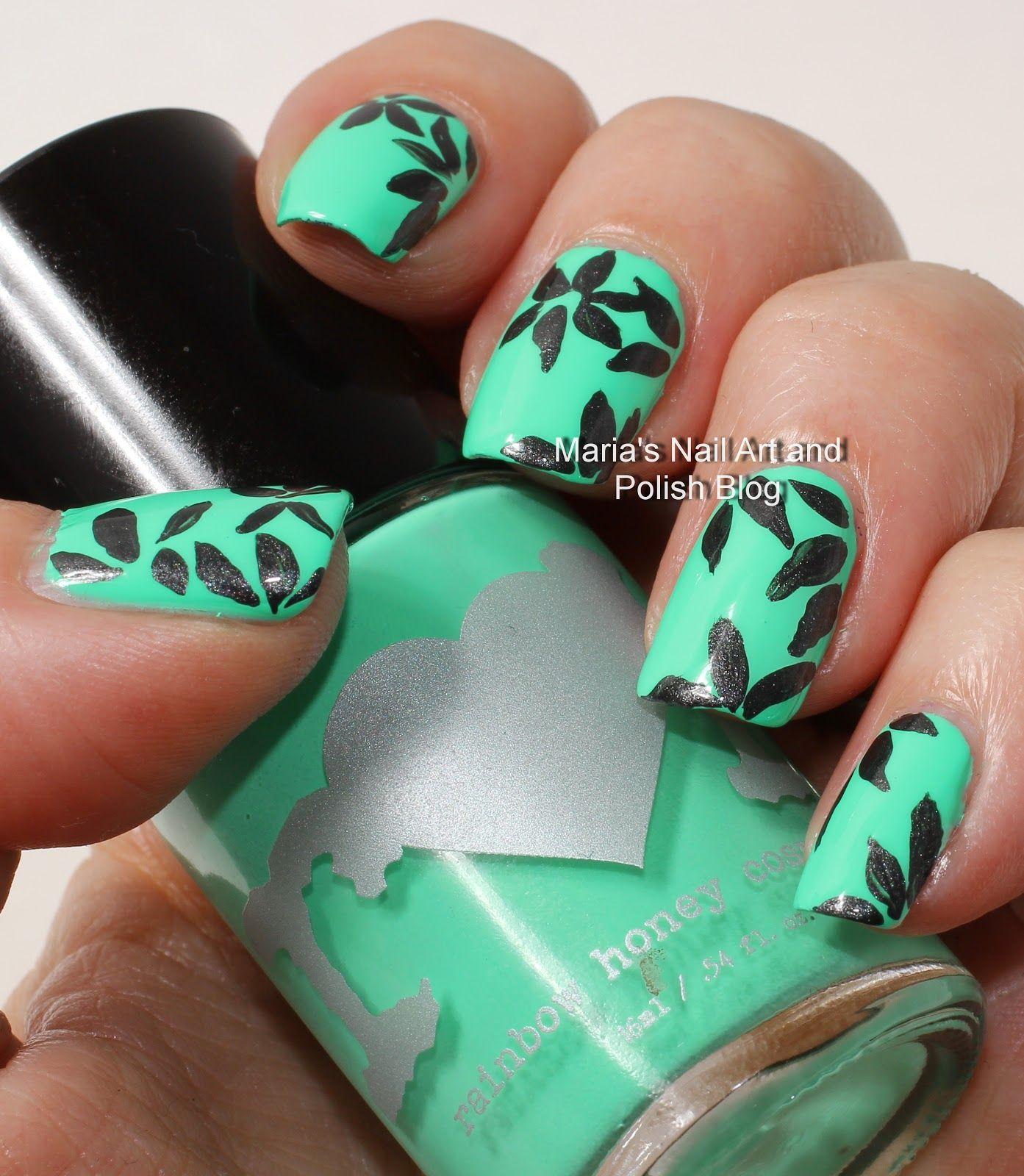Floral Petal Nail Art In Black And Green Nail Art Pinterest