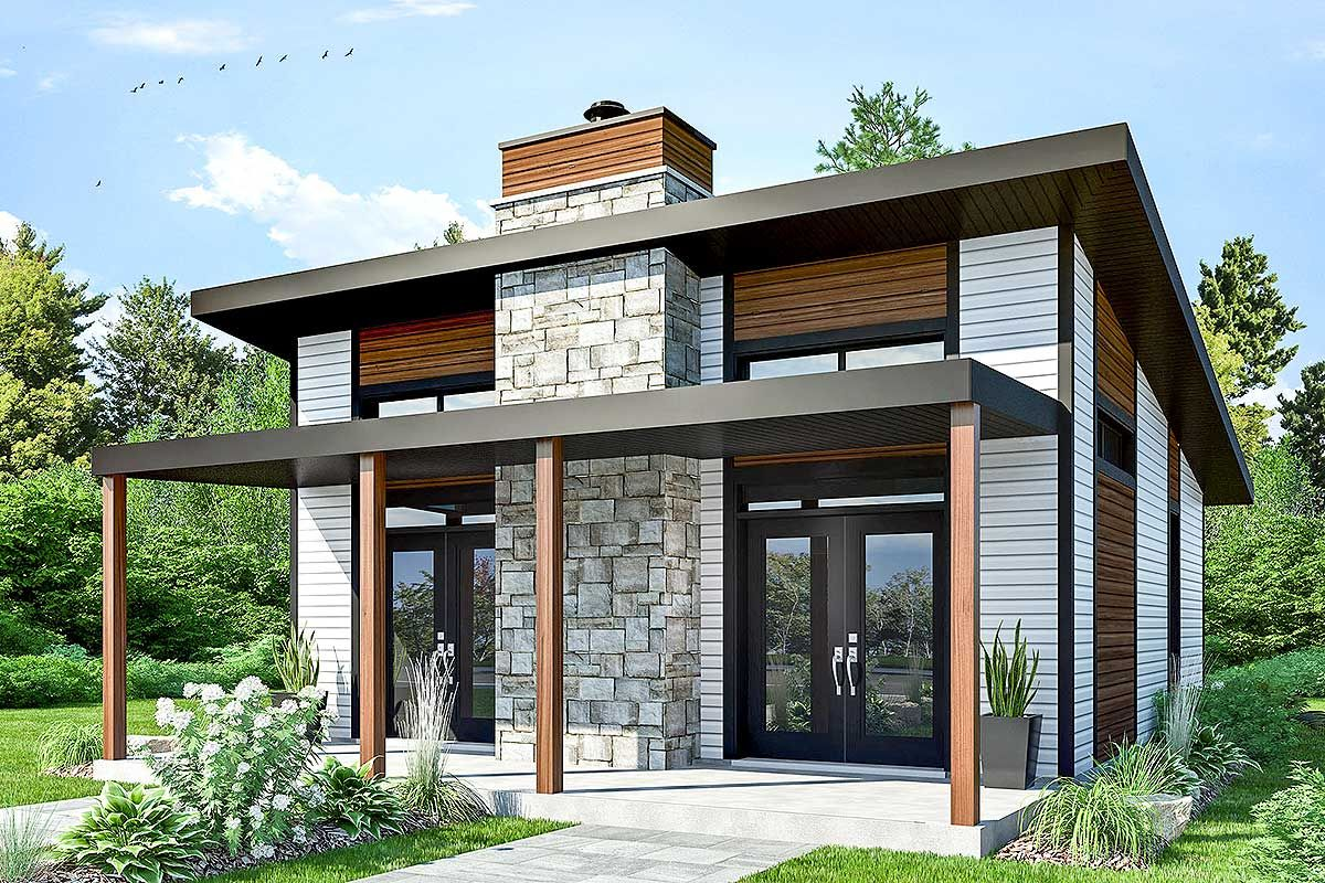 Plan 22403dr Contemporary Vacation Retreat дачные