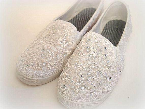 a37446afa021 Wedding Bridal Flat Tennis Shoes - chic white lace - Rhinestone Pearls -  eyelet trim - Shabby vintage inspired - sneakers oxfords