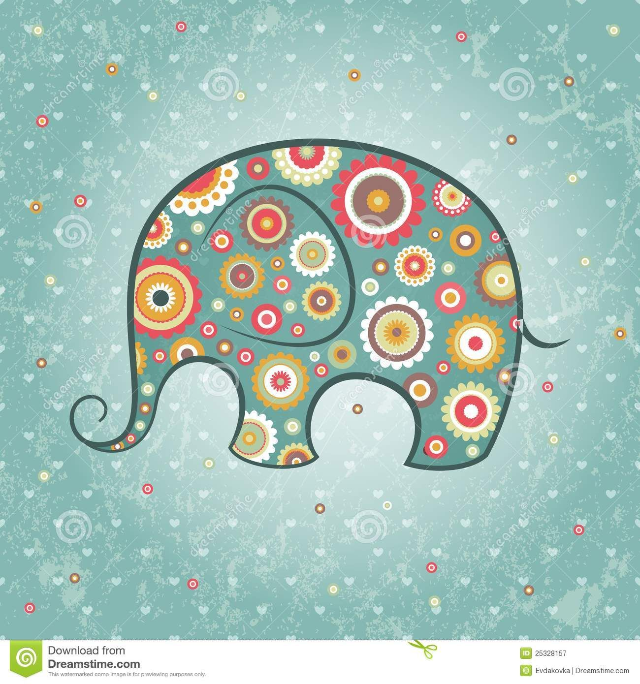 Floral Vector Elephant Royalty Free Stock Photography - Image: 25328157