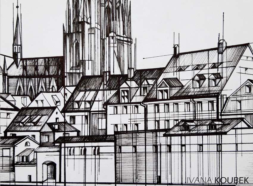 regensburg  detail i  zeichnung kunst zeichnungen