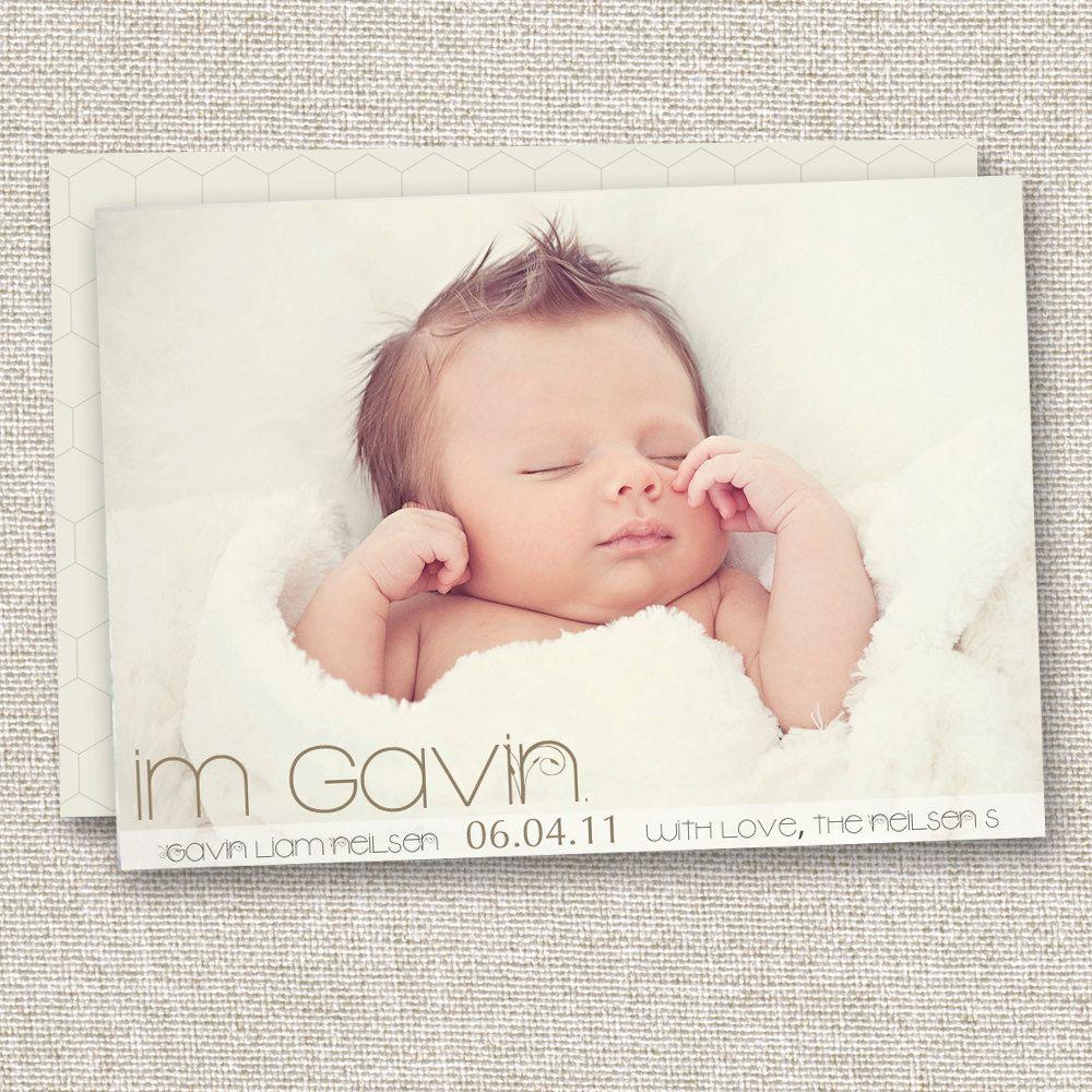 Modern Birth Announcement Baby Girl Announcement Baby Boy Birth – Baby Girl Announcements Pinterest