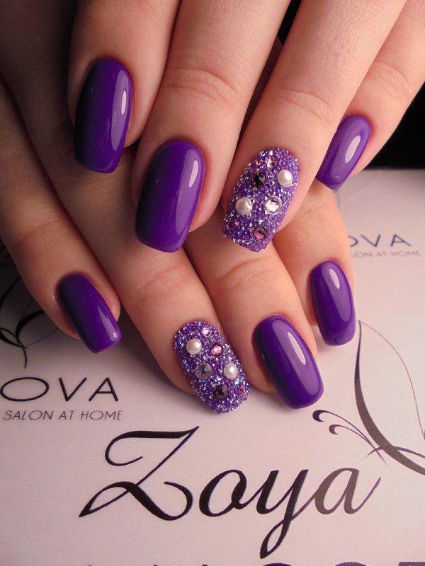 45 Purple Nail Art Designs | Purple nail, Purple nail art and Nail nail