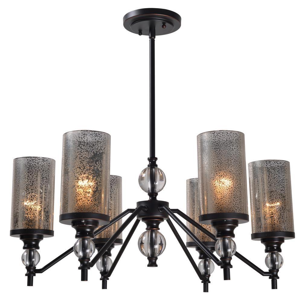Kenroy Home Chloe 6 Light Bronze Chandelier With Mercury Glass Shade 93446ORB