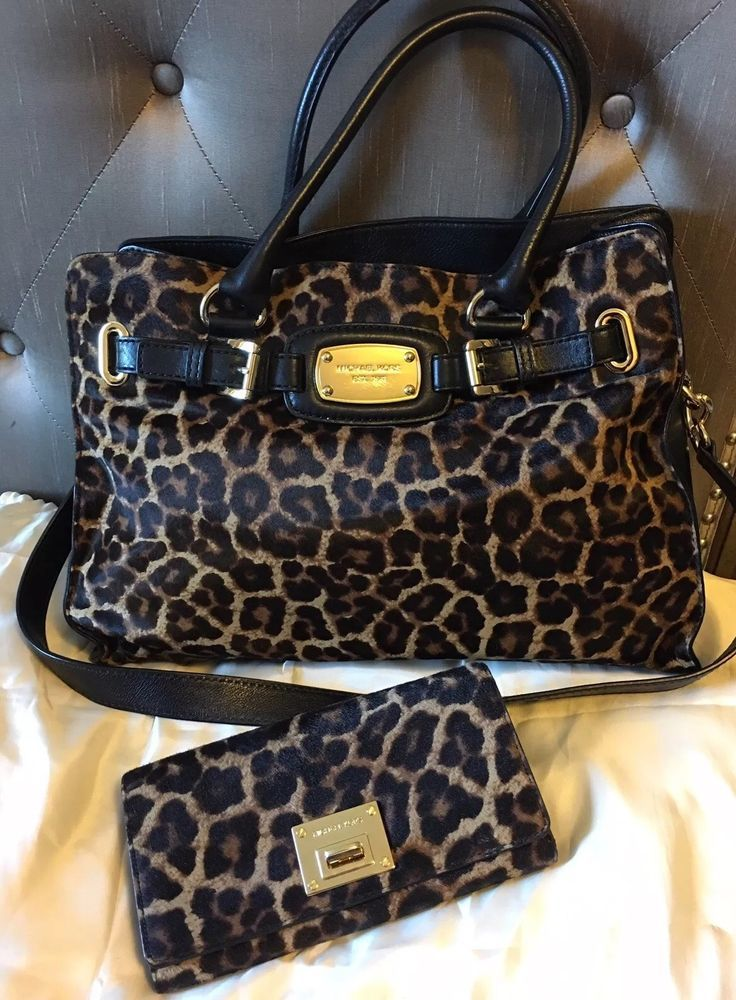 Michael Kors Hamilton Leopard Print Calf Hair Leather Satchel Matching Wallet And Leopards