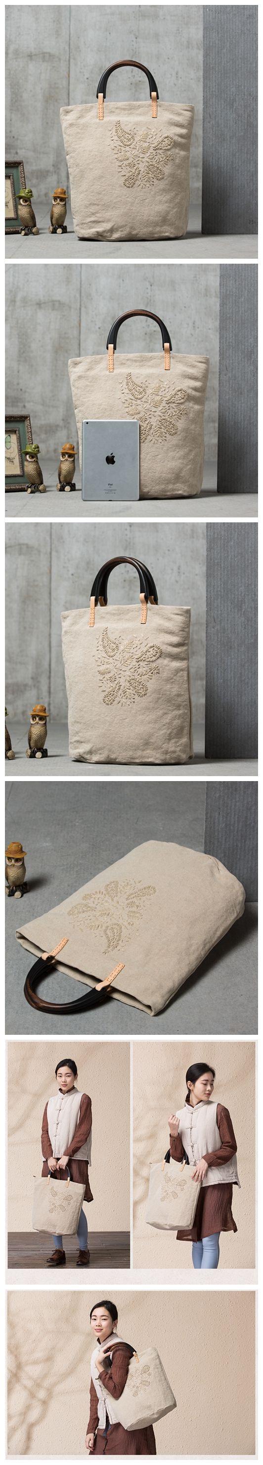 Original Cotton and Linen Tote Bag Hand Embroidery Handbag for Women ... 511809734