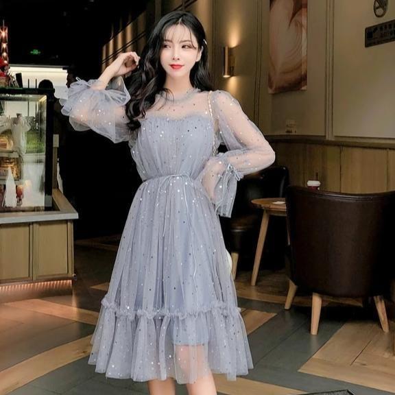 Shiny Sequined Gray Party Dress Insta Trends Grey Party Dresses Korean Dress Dresses
