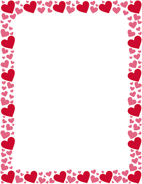 Printable Red And Pink Heart Border Free Gif Jpg Pdf And Png Downloads At Http Pageborders Org Downloa Valentines Clip Heart Border Valentines Day Border