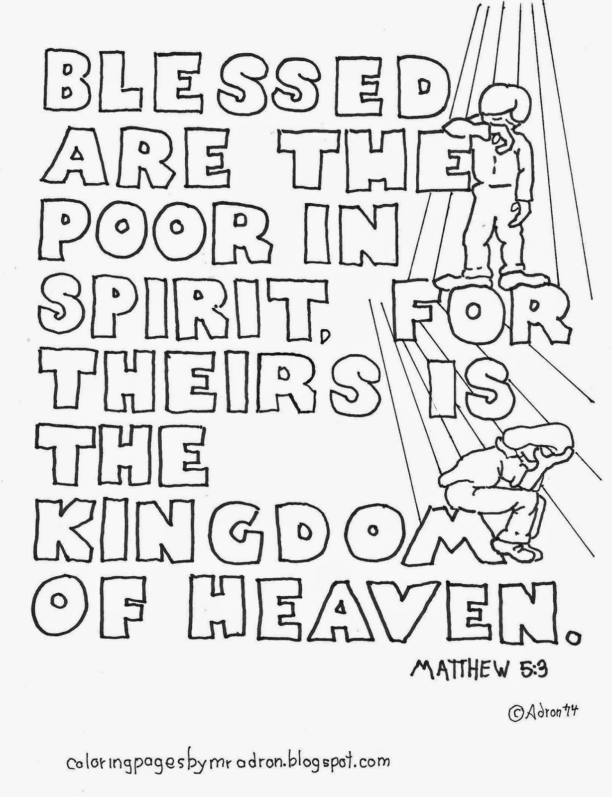Coloring pages for kids by mr adron matthew 53 blessed are the poor in spirit free c