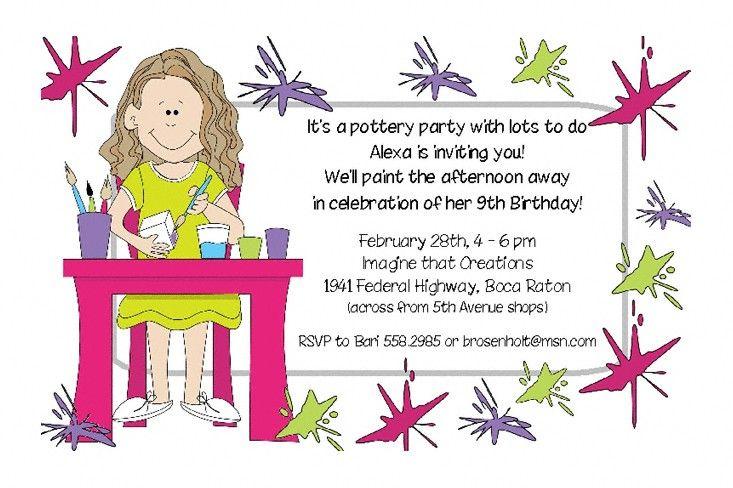 Pottery Party Invitation Annas Birthday Party Ideas – Pottery Painting Party Invitations