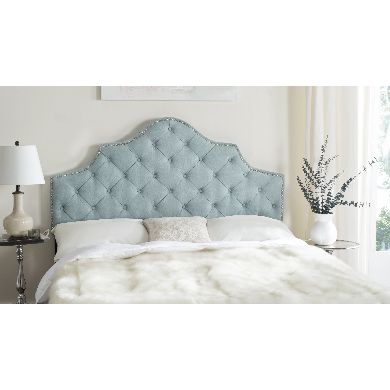 Safavieh Arebelle Sky Blue Upholstered Tufted Headboard - Silver ...
