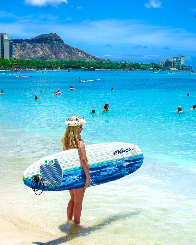 Waikiki Beach Honolulu Hawaii Usa Surf The Beautiful
