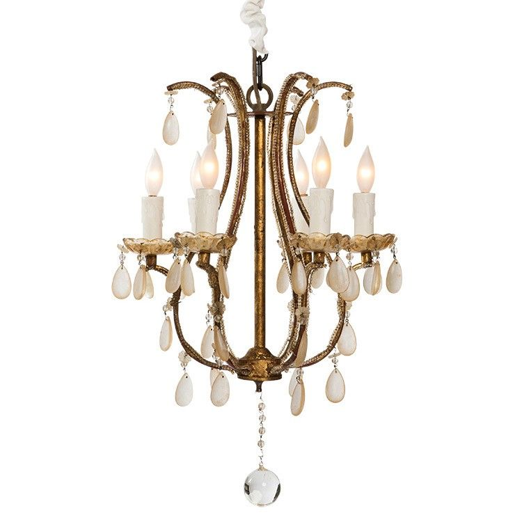 Gilded French Flea Market Chandelier Vintage Style