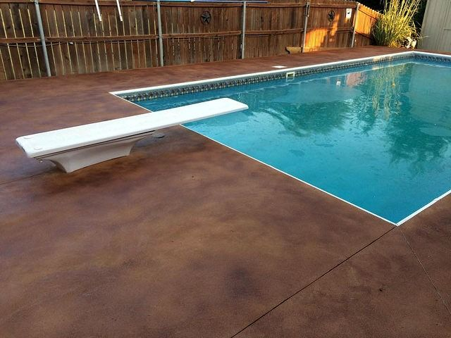 Stained Concrete Overlay Pool Deck Delhi California In