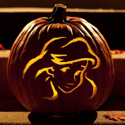 jack o lantern template disney  Ariel Pumpkin-Carving Template | Disney pumpkin carving ...