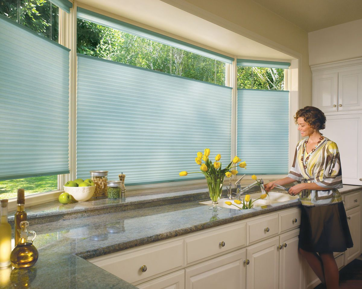 Duette honeycomb shades with LiteRise for kitchen sink bay windows ...
