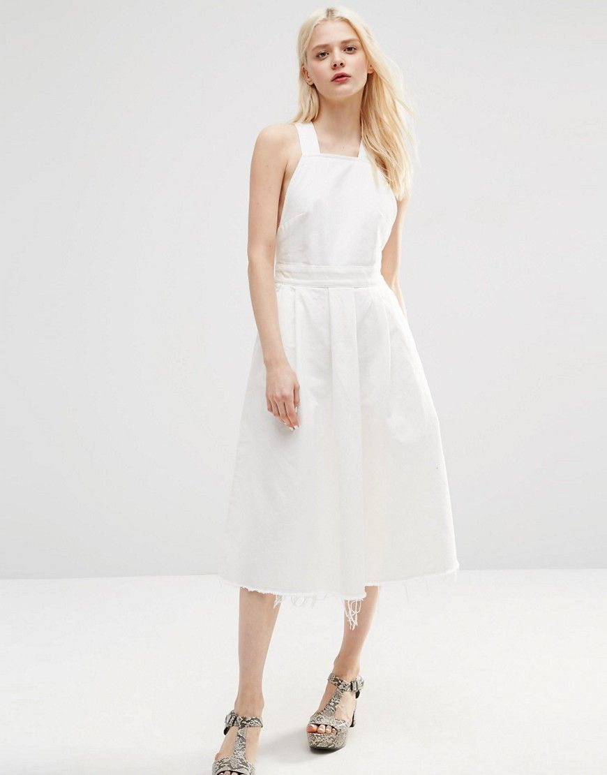 01b819fc30 Image 4 of ASOS Denim Cross Back Midi Dress In Off White With Raw ...