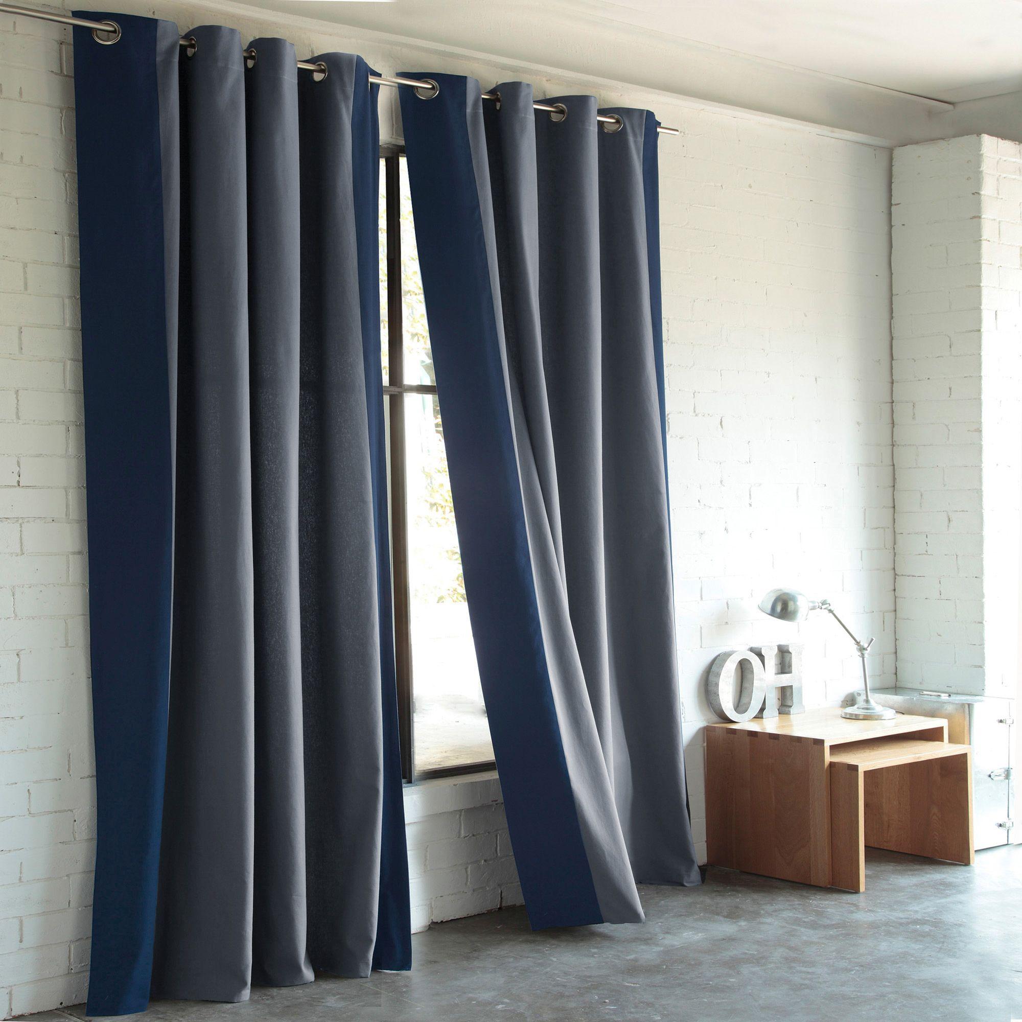 Rideau bandes latérales contrastées à oeillets en pur coton - 3 ...