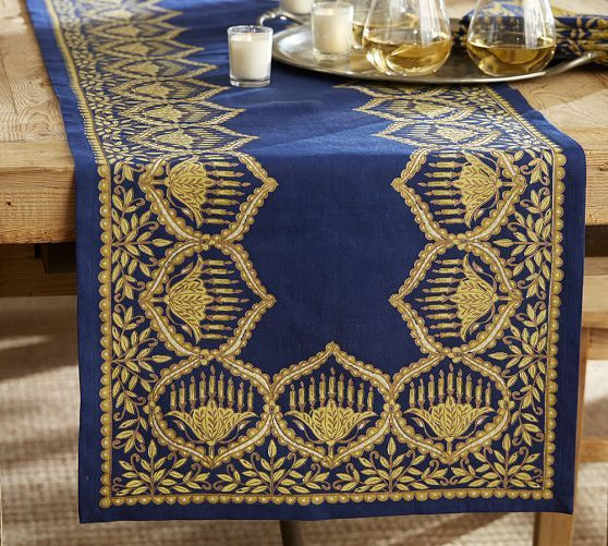 Hanukkah Metallic Table Runner Pottery Barn Chanukah