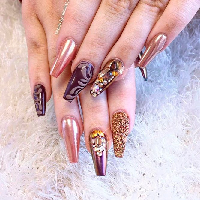 21 Cool Designs For Your Nails Coffin Shape Pinterest Nail