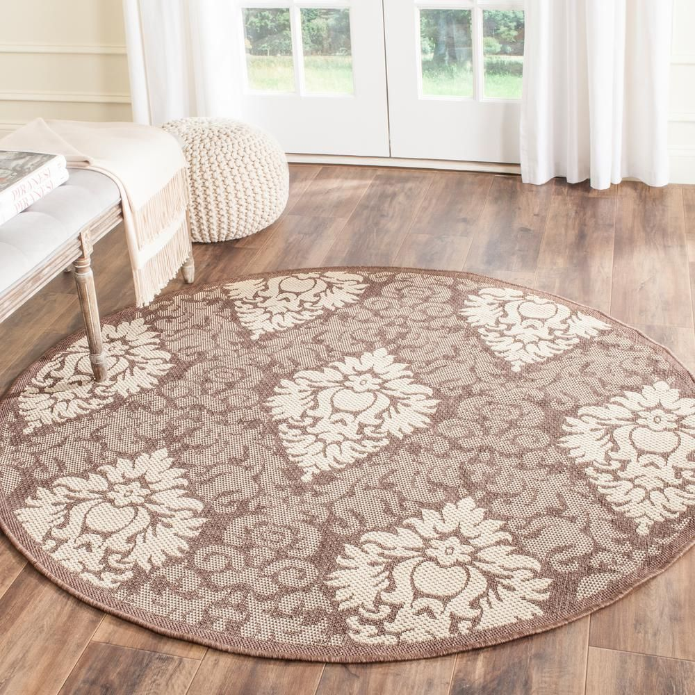 Safavieh Courtyard Chocolate Natural 7 Ft X 10 Ft Indoor Outdoor Rectangle Area Rug Cy2714 3409 6 Outdoor Rugs Indoor Outdoor Area Rugs Round Area Rugs