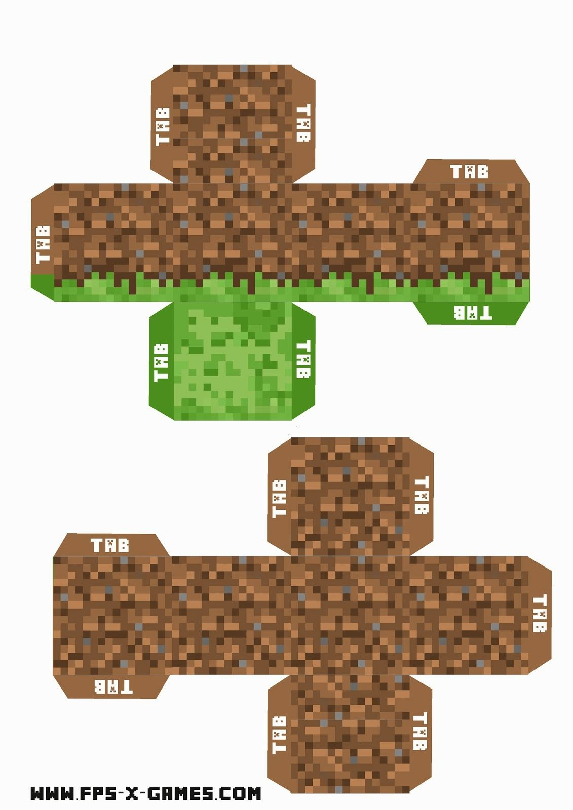 Minecraft Printable Grass And Dirt Block For The Enderman Mount Minecraft Printables Minecraft Birthday Diy Minecraft