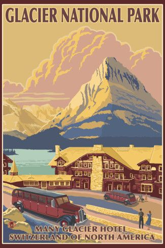 Many Glacier Hotel, Glacier National Park, Montana Plastic Sign by Lantern Press at AllPosters.com