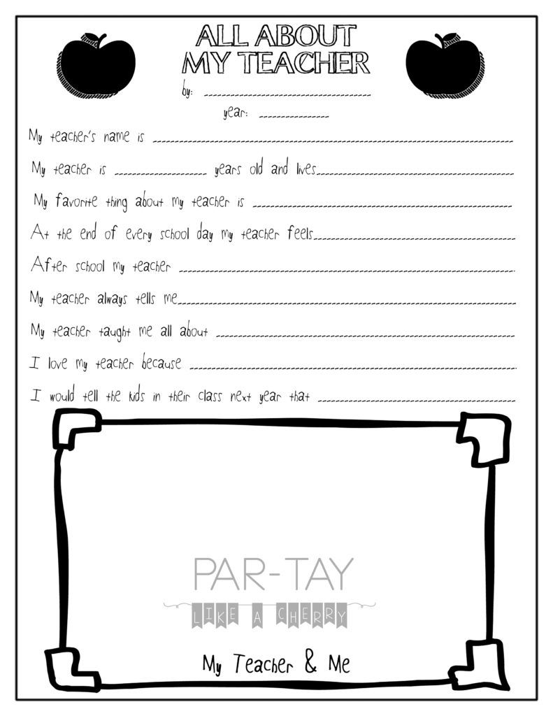 All About My Teacher Free Teacher Appreciation Printable