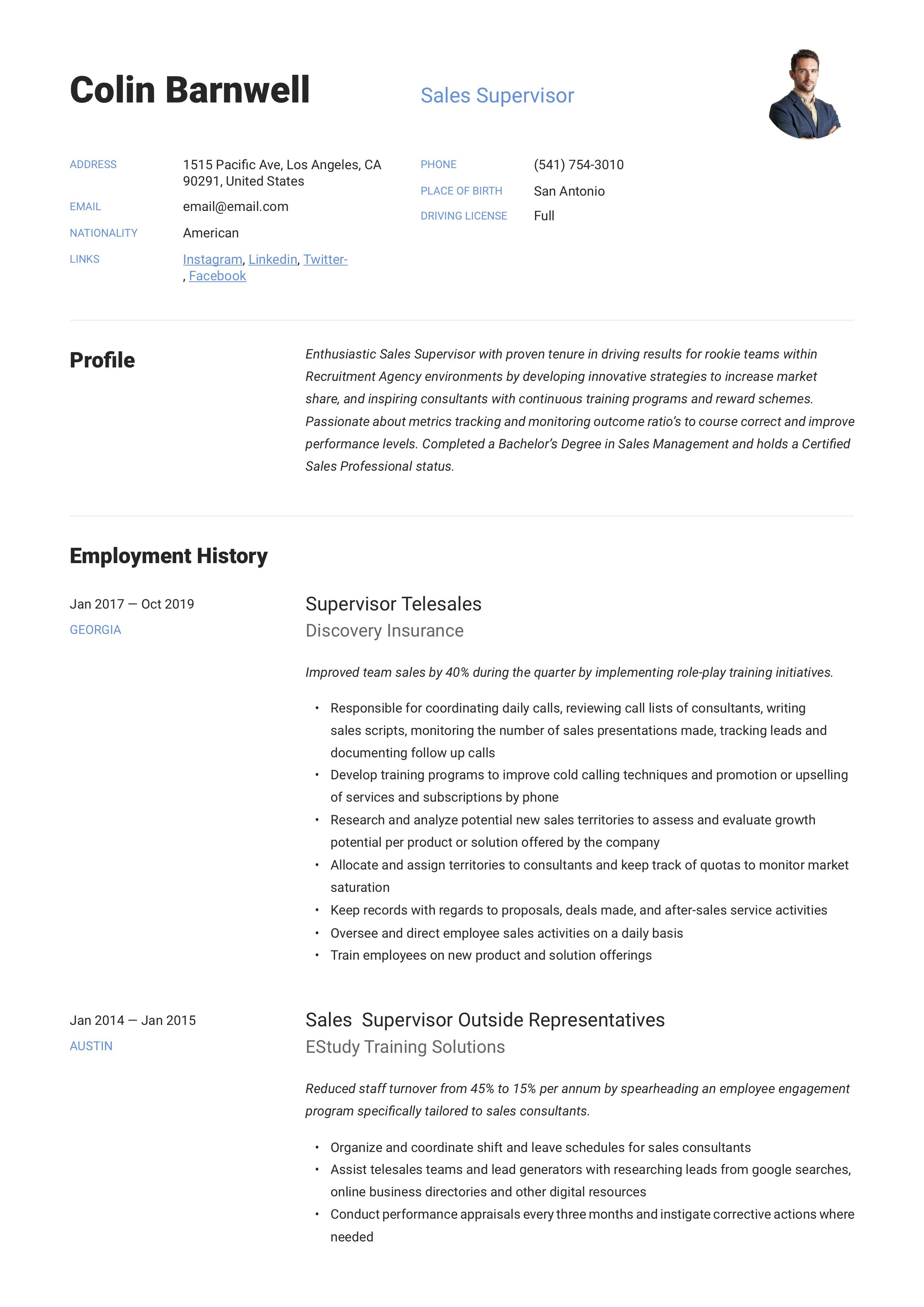 Sales Supervisor Resume Example in 2020 Resume examples