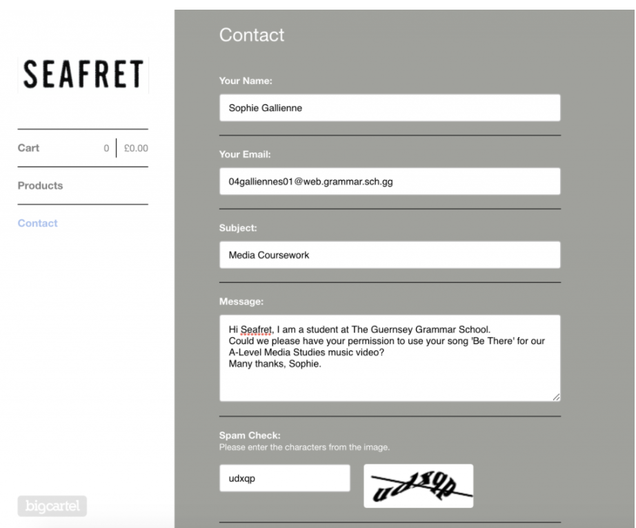 PLANNING Seafret's website In order to receive