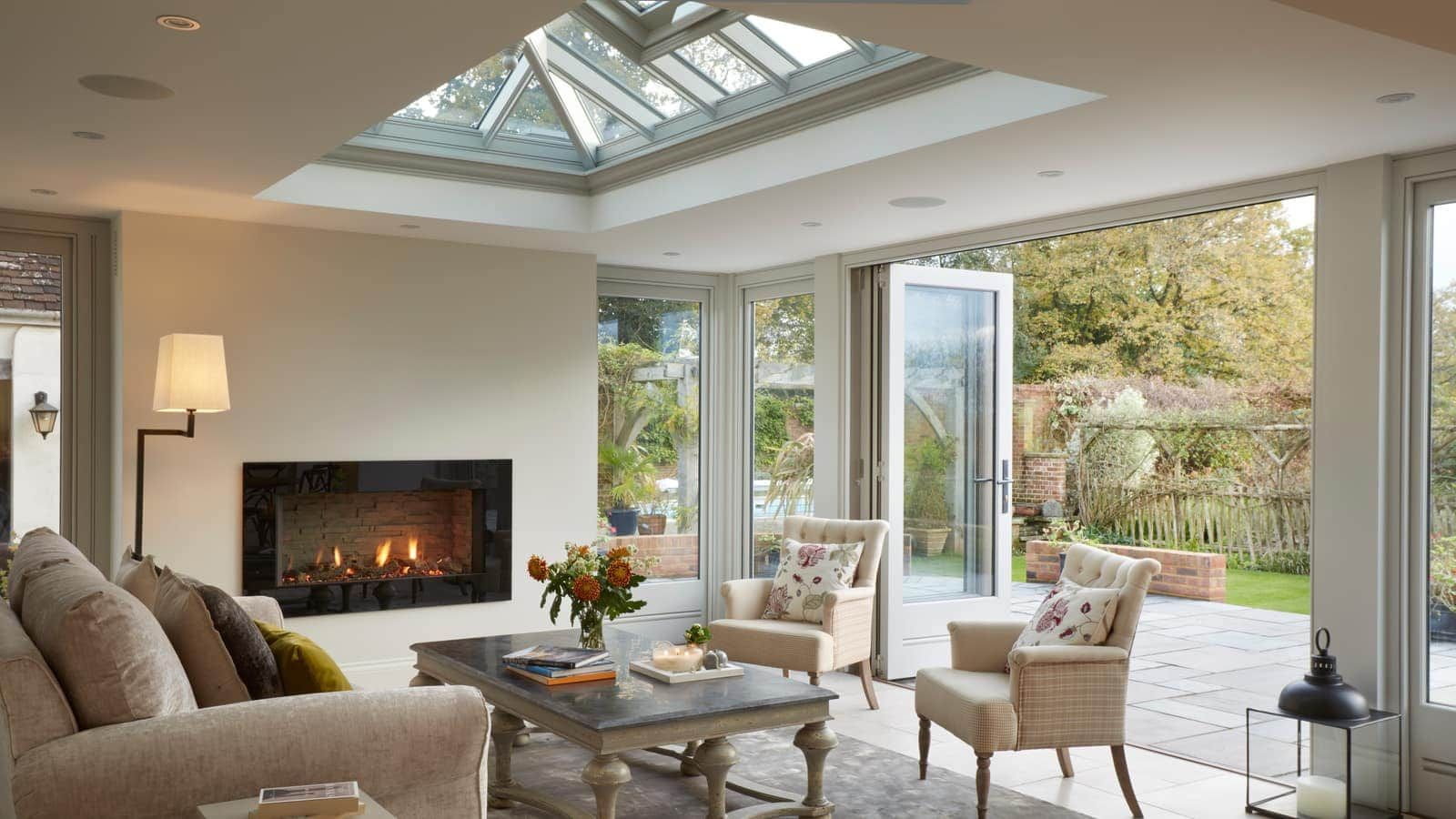 Cosy Orangery With A Fireplace Kitchen Orangery Open Plan