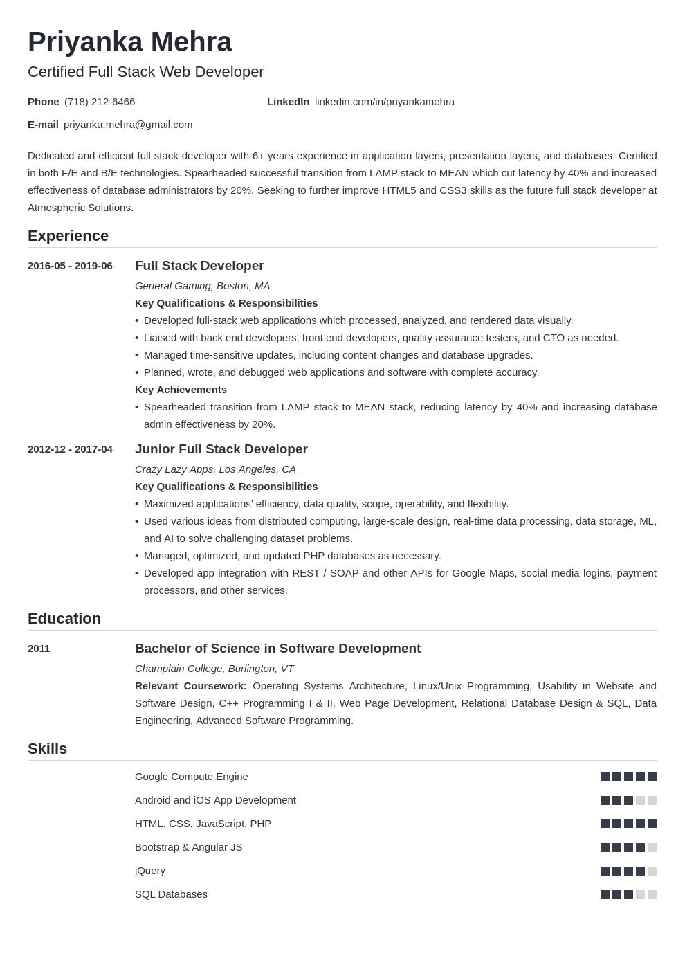 Full Stack Developer Resume Example Template Nanica Resume Examples Job Resume Examples Resume