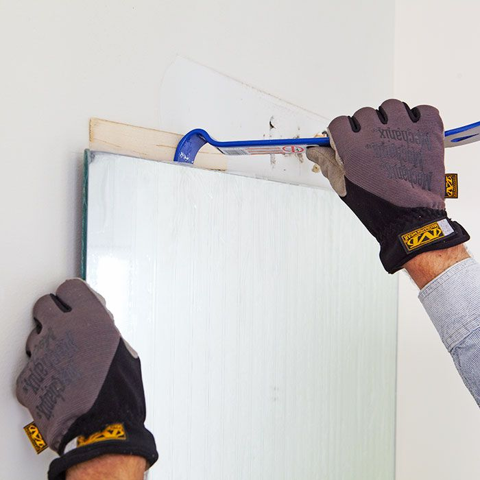 Removing bathroom mirrors - Begin prying off the old ...