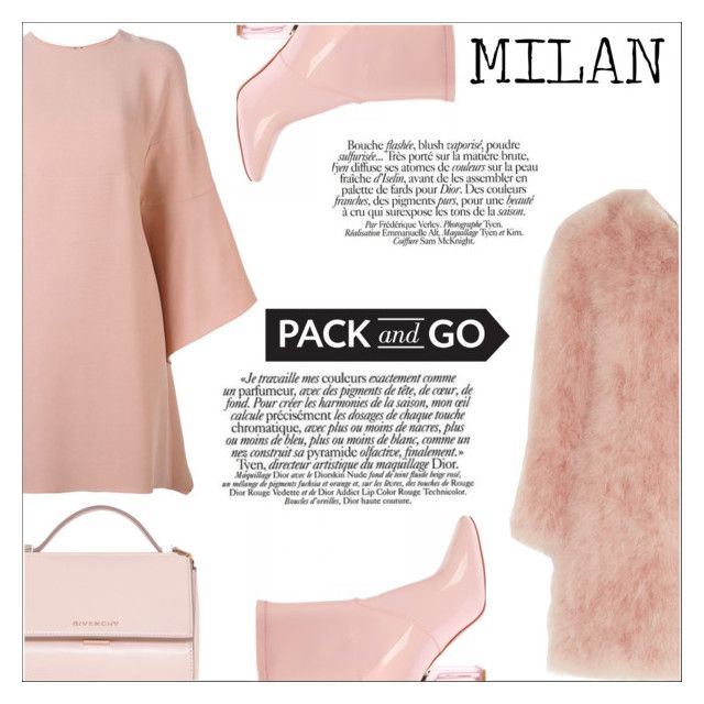 """""""Milan fashion week"""" by simona-altobelli ❤ liked on Polyvore featuring Valentino, Topshop Unique, Givenchy, Pink, MyStyle, polyvorecontest and Packandgo"""