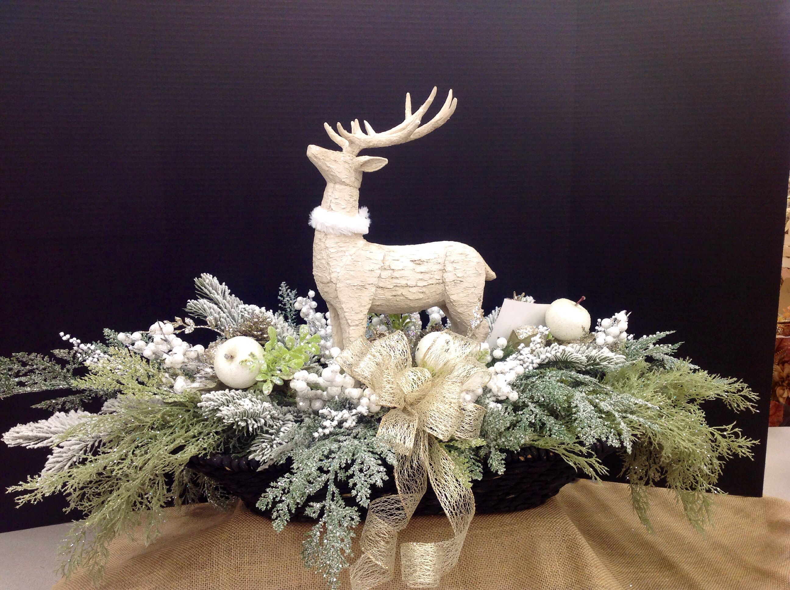 Reindeer In Basket With Christmas Foliage By Andi 9989 Christmas Floral Arrangements Christmas Flower Arrangements Christmas Centerpieces