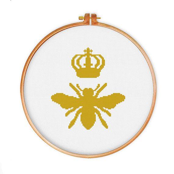 Queen Bee cross stitch pattern modern cross stitch por ThuHaDesign
