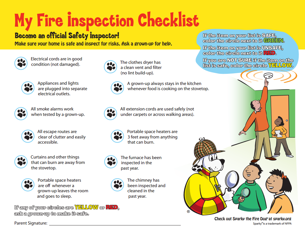 Free Printable My Fire Inspection Checklist