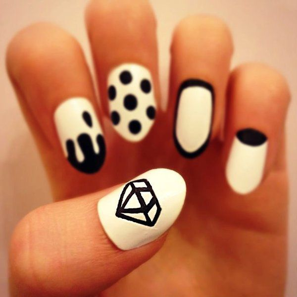 Gallery for cute nails with diamonds tumblr n a i l e d i t chic black and white diamond and polka dot nail sciox Image collections